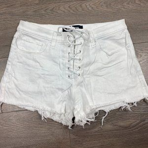 Express lace up white jean shorts